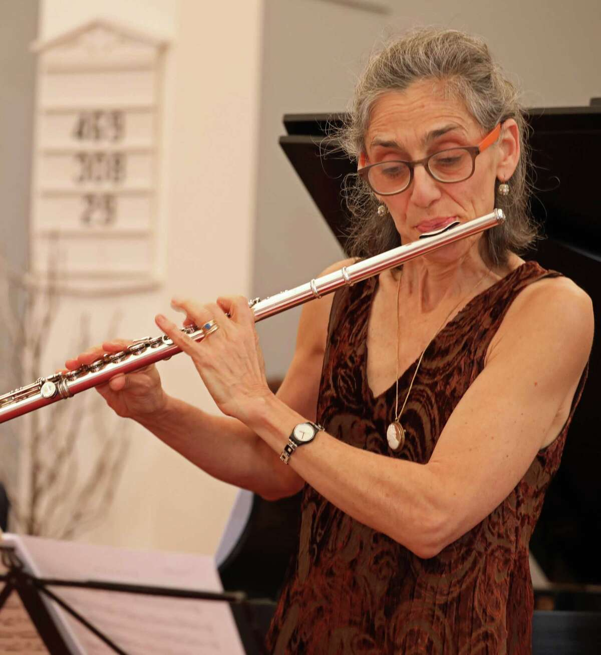 """Performers for the Sherman Chamber Ensemble """"Best of Baroque"""" concerts Jan. 4 and 5 are SCE Artistic Director and cellist Eliot Bailen, Susan Rotholz, pictured, (flute), Gerard Reuter (oboe), Michael Roth (violin) and Raymond Erickson (piano)."""