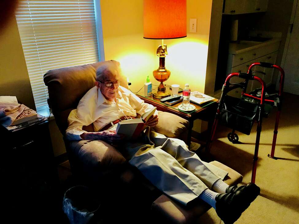 Don Black, 97, is a voracious reader who finishes a couple books each week (Paul Grondahl / Times Union)