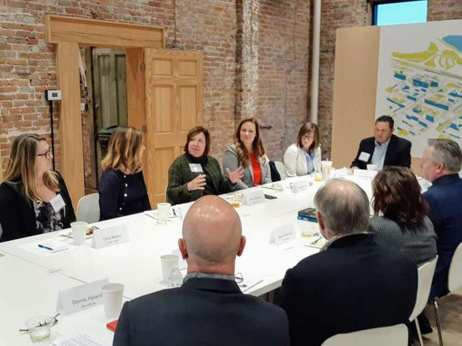 State Rep. Monica Bristow, D-Alton, joins state Sen. Rachelle Crowe, D-Glen Carbon, and state Rep. Katie Stuart, D-Edwardsville, during a Dec. 9 meeting with DCEO Director Erin Guthrie, John and Jayne Simmons, and the Alton Works Team to discuss area economic development.