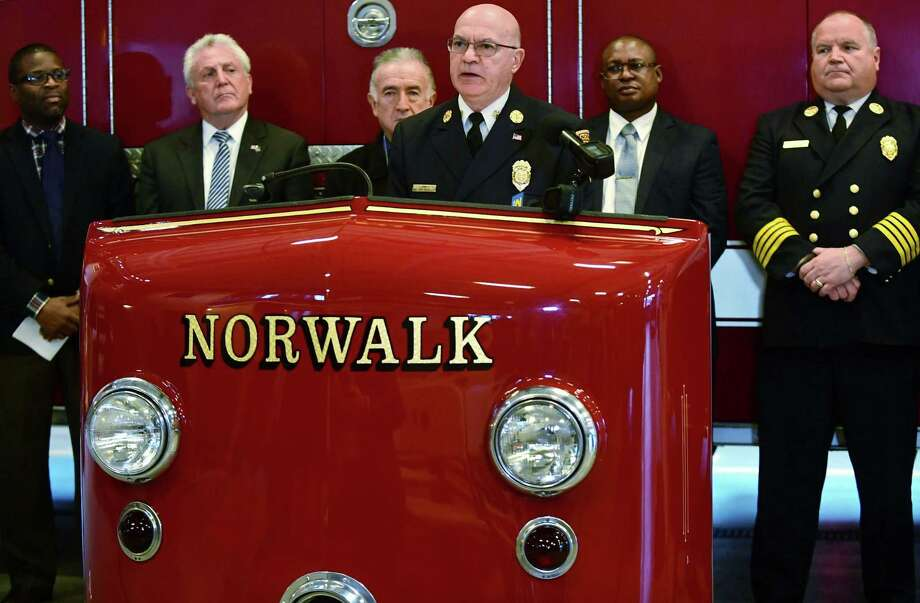 Norwalk Fire Chief Gino Gatto announces the Norwalk Fire Department will join the new State of Connecticut Firefighter Testing Consortium for fire department hires during a press conference Tueday, December 17, 2019, at department headquarters in Norwalk, Conn. Instead of each city having its own fire exams, the new system will allow individuals to take one exam and have it be shared with 15 communities.The city hopes to increase the diversity of the candidate pool of potential hires, and expand opportunities for Norwalk residents, through the statewide consortium. Photo: Erik Trautmann / Hearst Connecticut Media / Norwalk Hour
