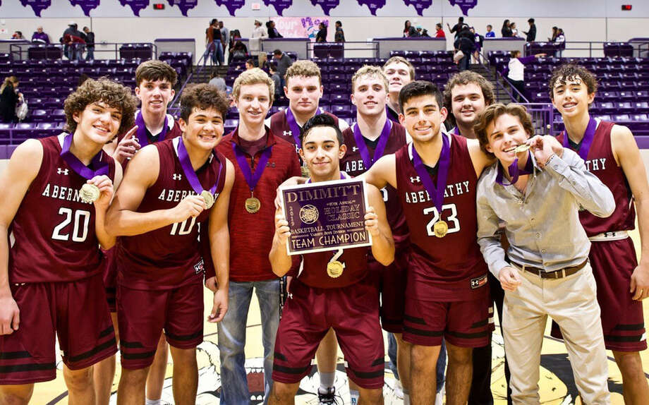 The Abernathy boys basketball team captured the championship in the Dimmitt tournament over the weekend. Photo: Courtesy Photo/Don Brown