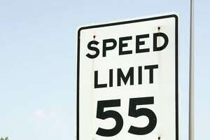 A 55 mph speed limit sign on Interstate 95 in West Haven.