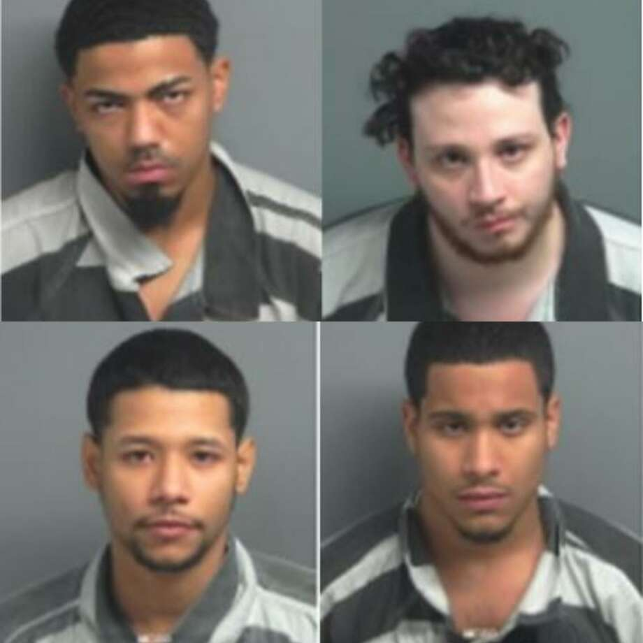 Jonathan Rafael Pequero, 22, Christopher Andrew Perdikakis, 24, Giobanni Jose Cruz, 23, David Dimitri Figueroa, 21, all from New York City, are being charged with engaging in organized criminal activity, a second-degree felony. Photo: Courtesy Of The City Of Shenandoah