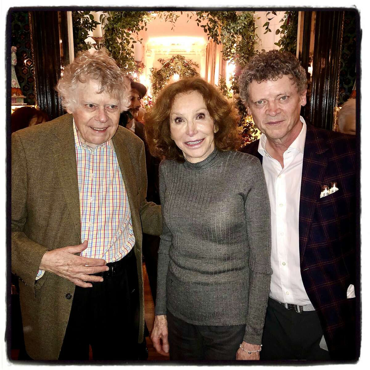 Composer Gordon Getty (left), his wife Ann Getty and their son, Peter Getty, celebrate his 86th birthday. Dec. 14, 2019.