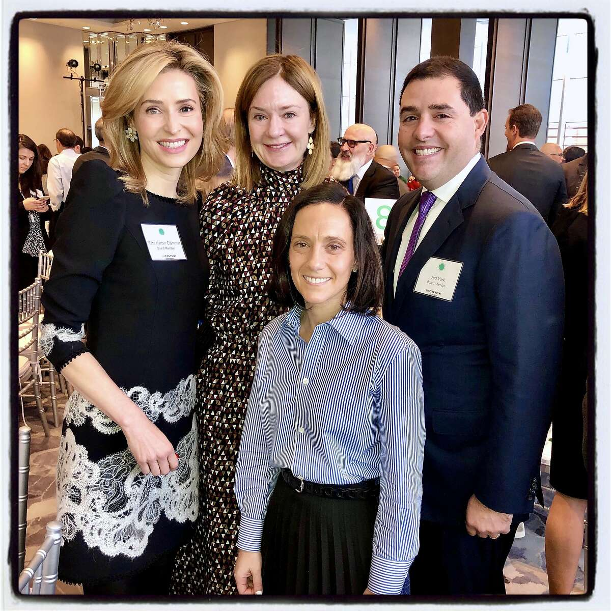 California State Protocol Director Becca Prowda (front) with Tipping Point trustees (from left) Kate Clammer, Katie Schwab Paige and 49ers CEO Jed York. Dec. 13, 2019.