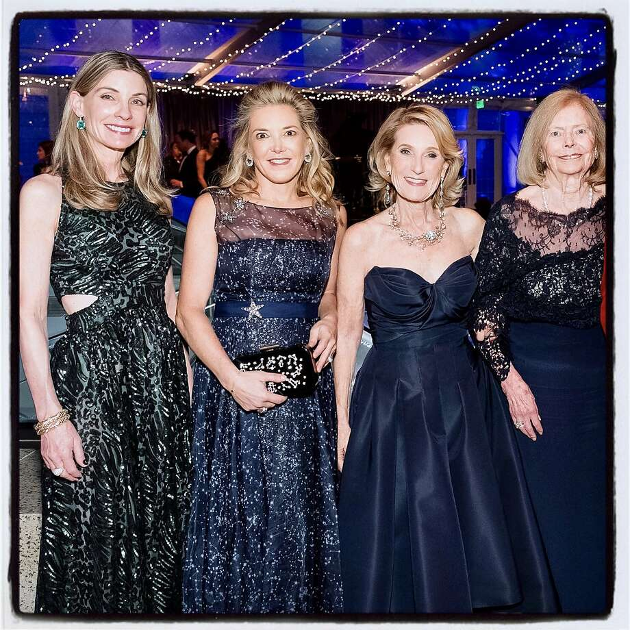 Elegant Evening co-chairs (from left) Lisa Zanze, Kathryn Lasater, Lorna Meyer Callas and Marion Cope at the Legion of Honor. Dec. 10, 2019. Photo: Drew Altizer / Drew Altizer Photography