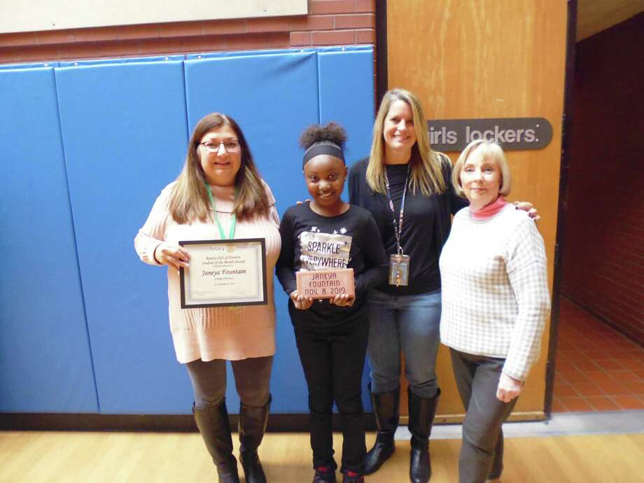 The Hamden Rotary Club has named Janeya Fountain its November 2019 Student of the Month. Shown with Janeya are school Principal Stacie D'Antonio, teacher Holly Stanley and Hamden Rotarian Betsy Gorman. Photo: Contributed Photo