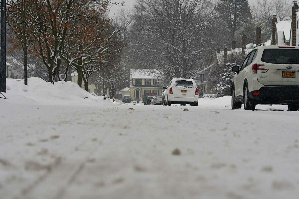 View looking down an apparently unplowed Maryland Ave. at about 3:30 pm during a snow storm on Tuesday, Dec. 17, 2019 in Schenectady, N.Y. (Lori Van Buren/Times Union)