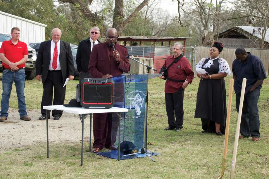 Pictured at the groundbreaking for HopeWell Community Church are Pastor Milton Taylor speaking, left to right behind him are general contractor Wayne Banks of Questar Construction, project engineer Ron Saikowski of Quest Engineering, Jim Ward of Excalibur Excavation, David Staat, First Lady Daisy Taylor and O.C. Davis Photo: Submitted Photo