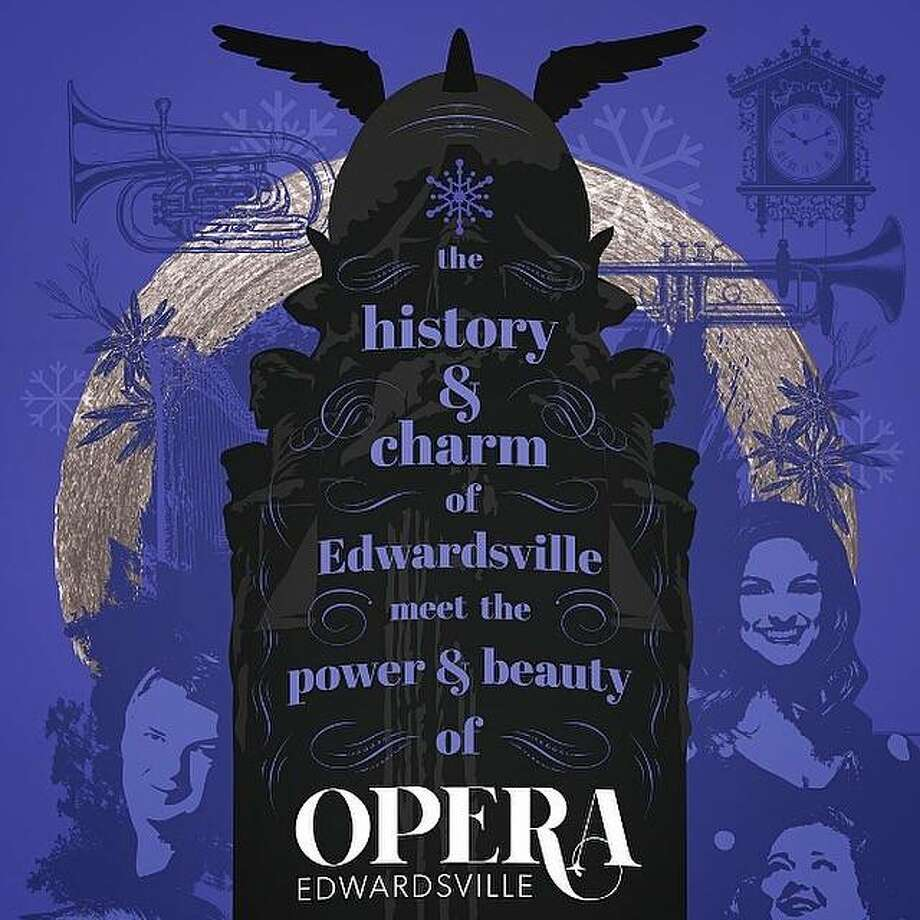 "Opera Edwardsville 2019 season commemorative poster for ""Christmas at The Wildey: A Wagnerian Christmas"" was designed by Edwardsville designer Jim Harper to feature the ""Tarnhelm,"" in Harper's vision, placed atop the Edwardsville Centennial Monument. The Tarnhelm is as magical helmet featured in Richard Wagner's opera, ""The Ring Cycle."" The Tarnhelm has become a familiar symbol of opera, partnered here with one of Edwardsville's most iconic statues to reflect the history and charm of the city of Edwardsville meeting the power and beauty of opera. Photo: Courtesy Of Opera Edwardsville Poster Design By Jim Harper