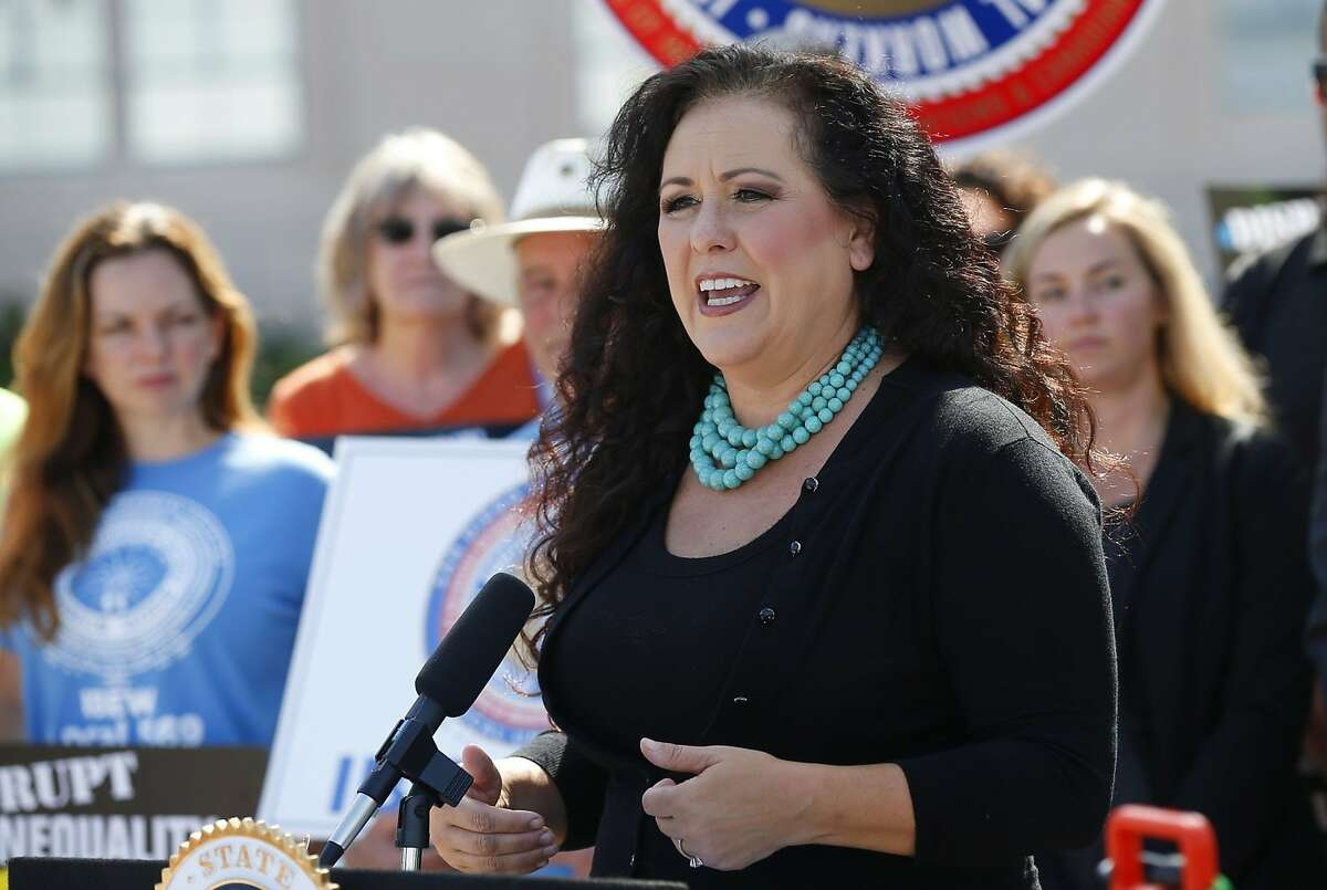 The sponsor of the bill, Assemblywoman Lorena Gonzalez speaks at a news conference in San Diego on August 29, 2019 supporting Assembly Bill 5, which would make some independent contractors employees of the companies they work for under certain conditions.