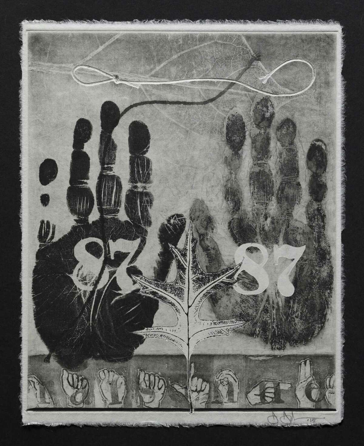 """""""87, Catalogue Raisonne,"""" is one of 100 monoprints on view along with other works in """"Jasper Johns: 100 Variations on a Theme"""" at the Museum of Fine Arts, Houston."""