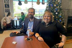 Beto O'Rourke, left, poses at a coffee shop in Katy with Eliz Markowitz, a Democrat who is in a special election runoff for a Texas House seat in Fort Bend County. O'Rourke said Tuesday he will prioritize helping Democrats win battleground House seats in the wake of his presidential bid.