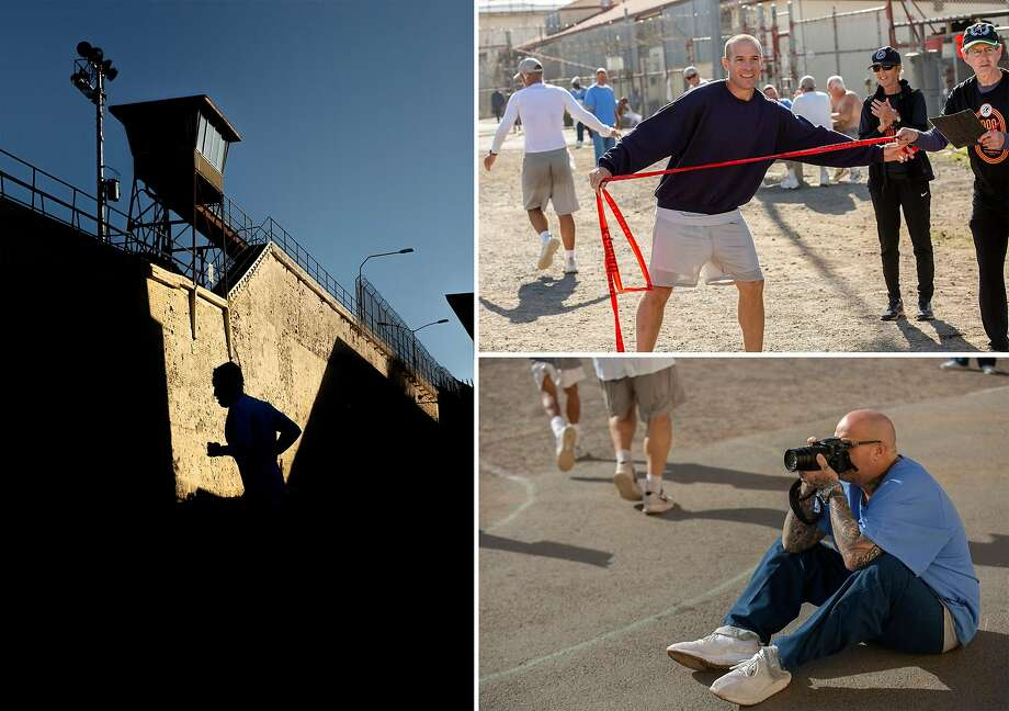 Fidelio Salazar Marin runs in the San Quentin State Prison marathon on Friday, Nov. 22, 2019, in San Quentin, Calif. Top right: Brett Ownbey, an inmate of the San Quentin State Prison, holds up finish-line tape for marathon participants. Bottom right: Javier Jimenez, a photographer for the inmate-run newspaper San Quentin News, photographs the San Quentin State Prison marathon. Photo: Santiago Mejia / The Chronicle