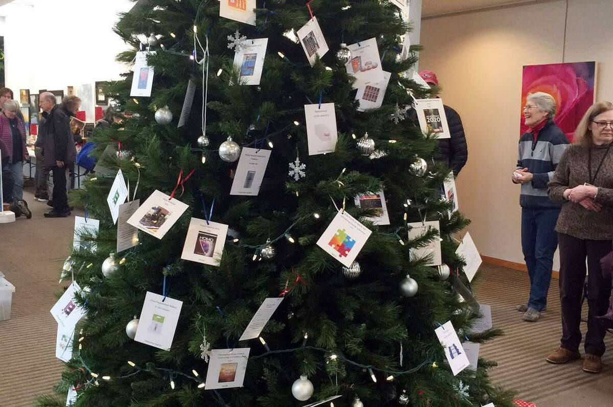 The giving tree at Wilton Library The gift tree at the Wilton Library holiday book sale.