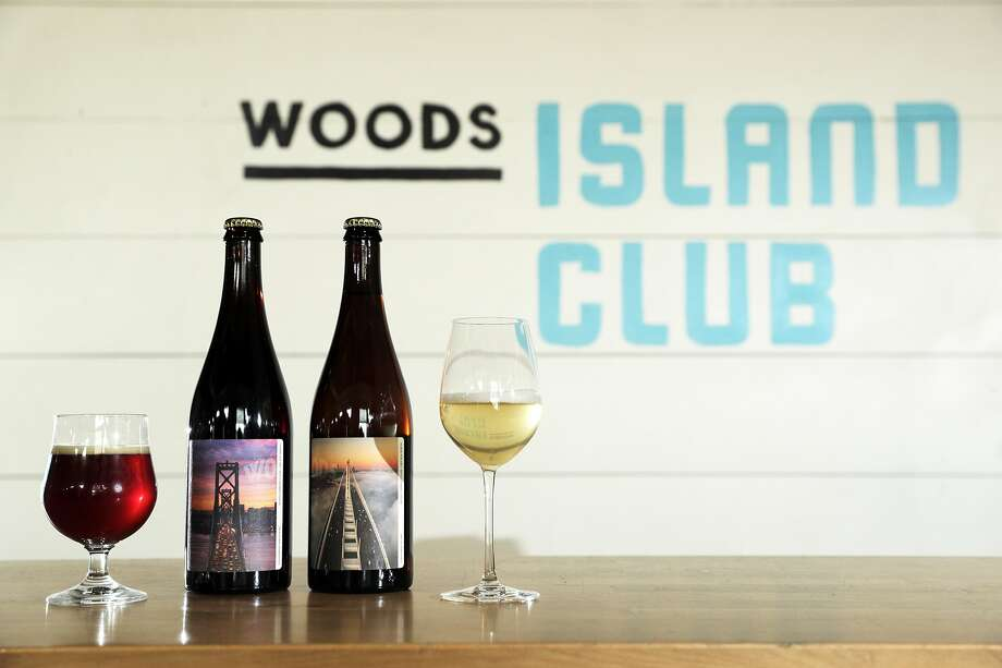 Woods Beer Co. is launching a wine-and-beer club. The first shipment will include the gingerbread barleywine (left), and the 2018 Chardonnay pet-nat from Linda Vista Vineyard in Napa Valley. Photo: Carlos Avila Gonzalez / The Chronicle