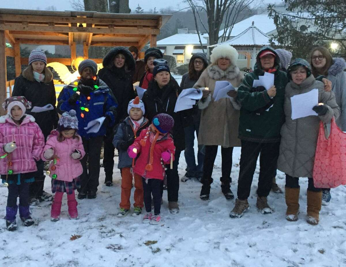The Wilton Christmas Carolers will sing on the town green at 4:15 p.m., on Dec. 18.