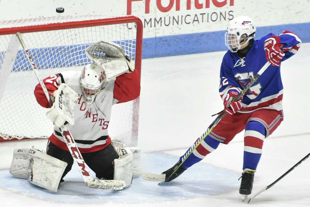 New Haven, Connecticut-Monday, March 18, 2019: Branford H.S. vs. Glastonbury H.S. during the second period of the CIAC 2019 State Boys Ice Hockey Tournament Division II championship game Monday evening at Ingalls Rink at Yale University in New Haven.