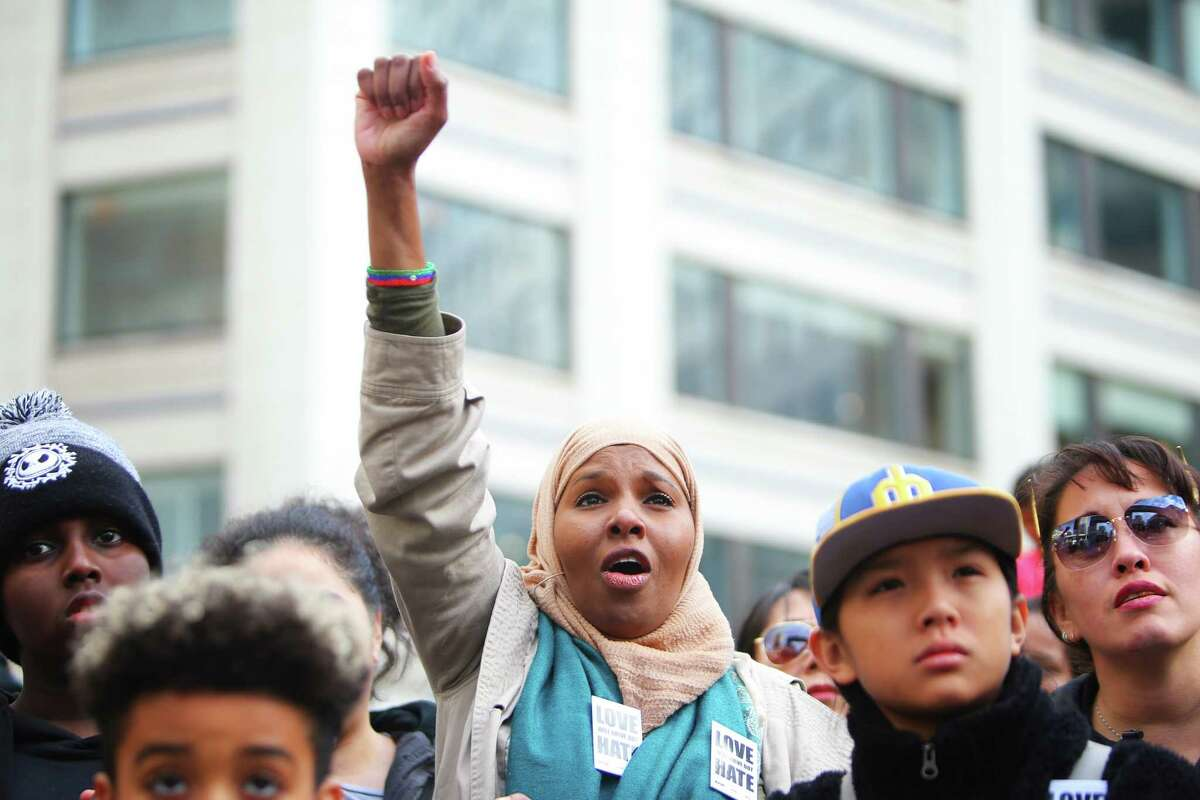 Thousands rally at Westlake Park as a part of Seattle's annual Martin Luther King Jr. Day celebration, Monday, Jan. 21, 2019. Other MLK Day events included a march, an opportunity fair, workshops and youth activities.