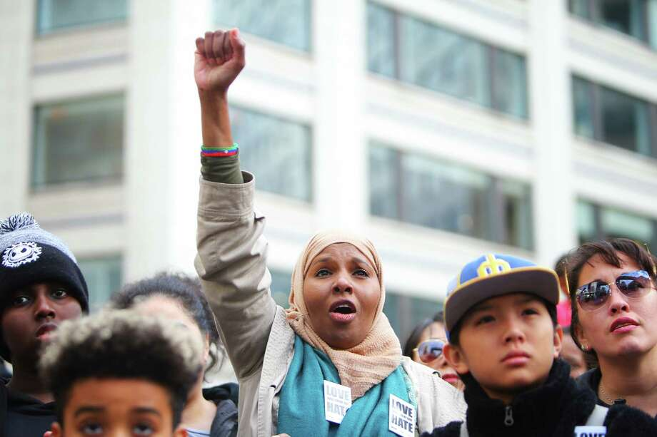Thousands rally at Westlake Park as a part of Seattle's annual Martin Luther King Jr. Day celebration, Monday, Jan. 21, 2019.  Other MLK Day events included a march, an opportunity fair, workshops and youth activities. Photo: Genna Martin, Seattlepi.com / GENNA MARTIN