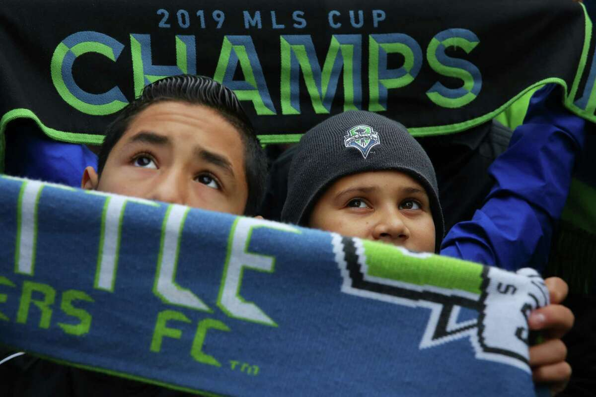 The City of Seattle celebrates the Sounders' MLS Cup Championship win with a parade from Westlake Park to Seattle Center and a rally, Tuesday, Nov. 12, 2019. The Sounders beat Toronto 3-1 to bring home their second MLS Cup in four years.
