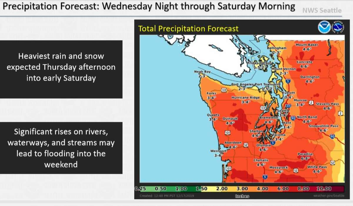 Up to 4 inches of total rain were possible this week in Seattle.