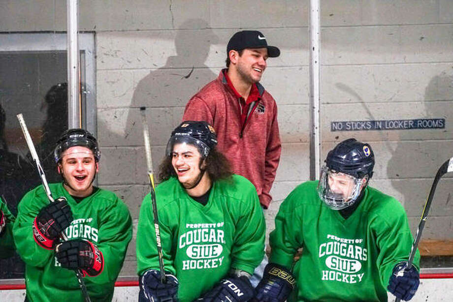 SIUE Cougars hockey coach Tyler Emerick, back, and three prospective players enjoy a laugh during a workout session at the SIUE Cougars Mini Camp Saturday morning at the East Alton Ice Arena. The Cougars' Photo: Pete Hayes | The TelegraphNathan Woodside | The Telegraph