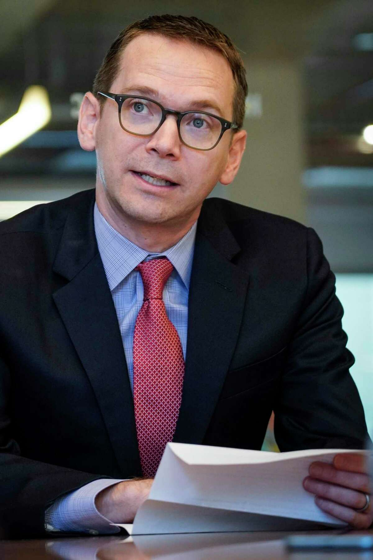 Texas Education Commissioner Mike Morath, pictured in a 2019 file photo, said Sunday in a conference call with education and political leaders that schools in areas with outbreaks of the novel coronavirus could stay closed for the remainder of the academic year.