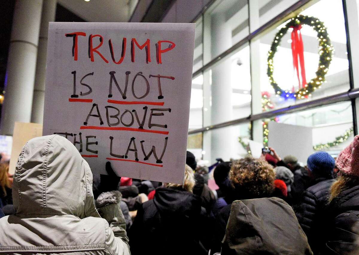 Hundreds attend a rally in front of the Stamford Government Center on Dec. 17, 2019 in Stamford, Connecticut. Members of Stronger Together CT Coalition, Indivisible Stamford, and other activist groups join with state representatives, local residents at the MoveOn Impeach and Remove Rally as the House and Senate on the night before the U.S. House of Representatives take an historic vote to impeach President Donald Trump on Wednesday in Washington D.C.