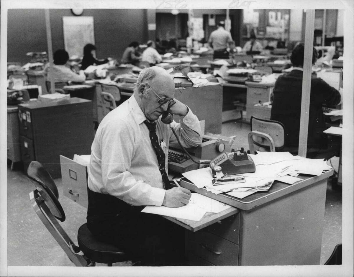 Barney Fowler at desk in New York. December 18, 1980 (Paul D. Kniskern, Sr./Times Union Archive)