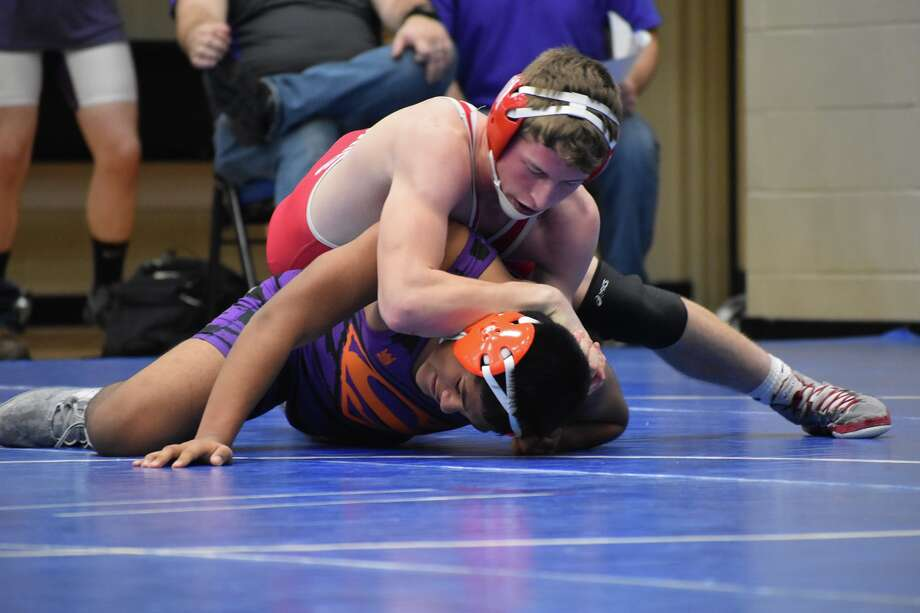 Ike Koscielski gets the upper hand in a match at the MCC Optimist Invitational. Photo: Shane Iverson