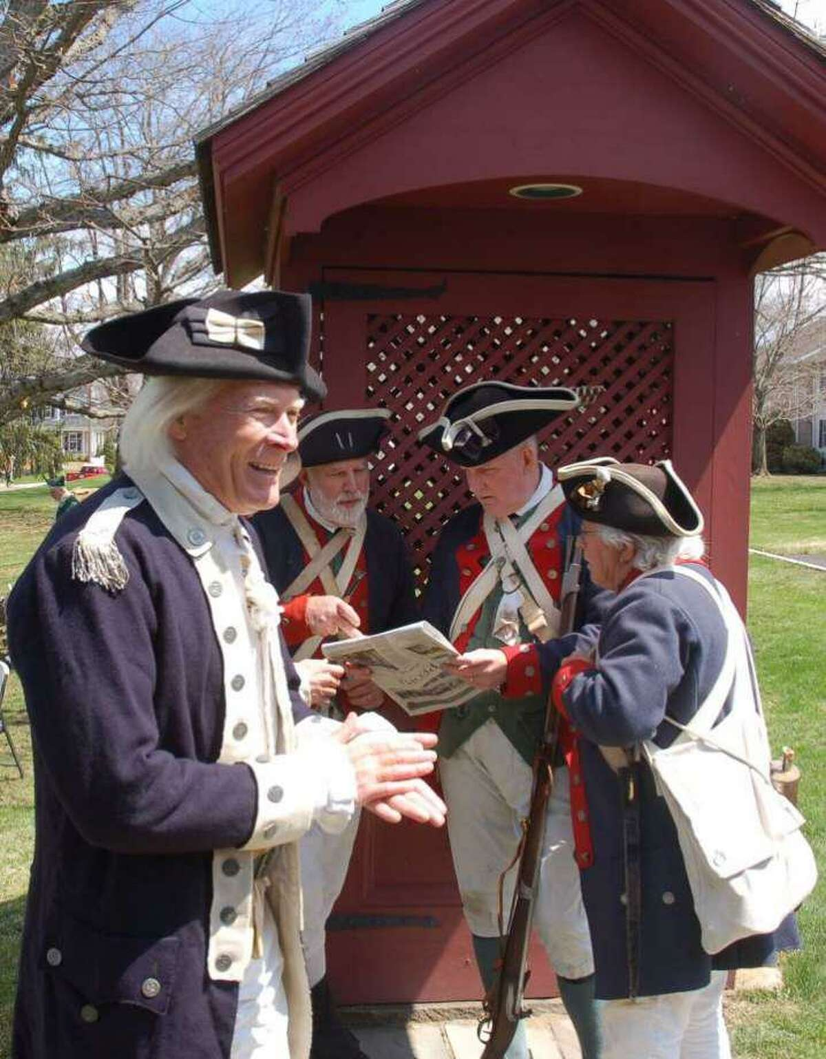Keith Jones, author of Farmers Against the Crown, dresses up to reenact the Battle of Ridgefield in 2017.