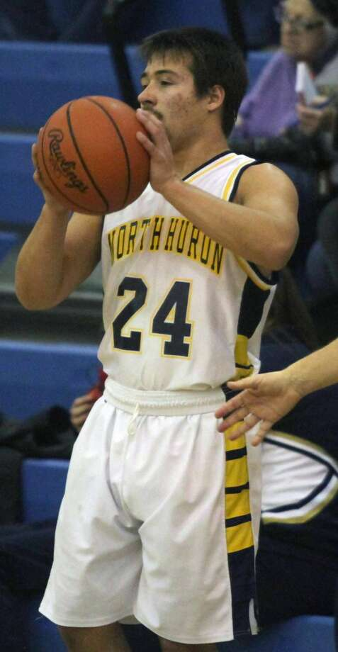 The North Huron Warriors took down Owen-Gage's boys basketball team by a score of 59-28 on Tuesday, Dec. 17,. Photo: Eric Rutter/Huron Daily Tribune