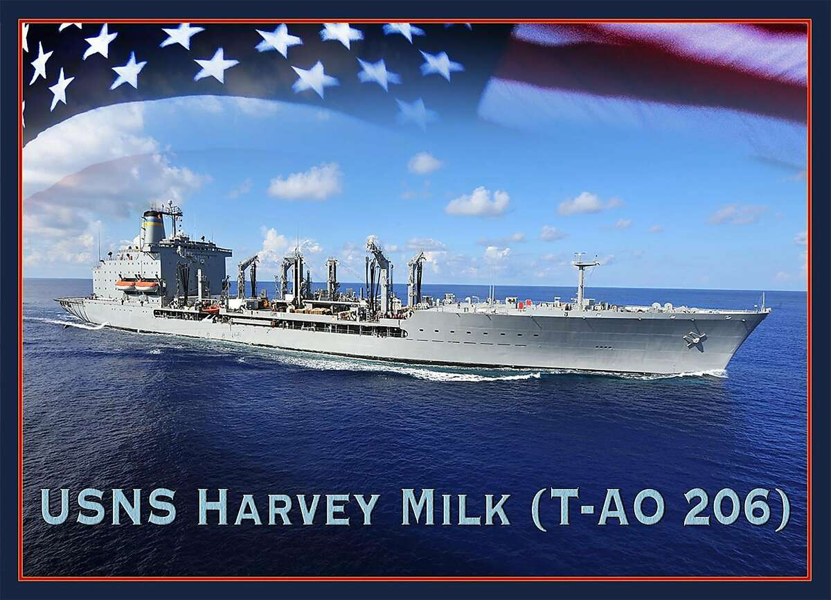 A photo illustration provided by the U.S. Navy of the Military Sealift Command fleet oiler, T-AO 206, which will be named the USNS Harvey Milk. Construction has begun on a Navy ship that will be named for the slain gay rights leader and first openly gay elected official in a major American city. (U.S. Navy via The New York Times)