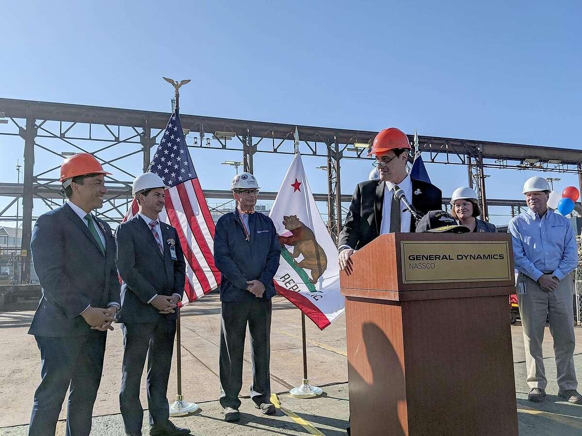 Stuart Milk, nephew of slain former San Francisco Supervisor Harvey Milk, thanks Assemblyman Todd Gloria for his work for the community, in San Diego on Friday, Dec. 13, 2019. (Andrew Dyer/San Diego Union-Tribune/TNS)