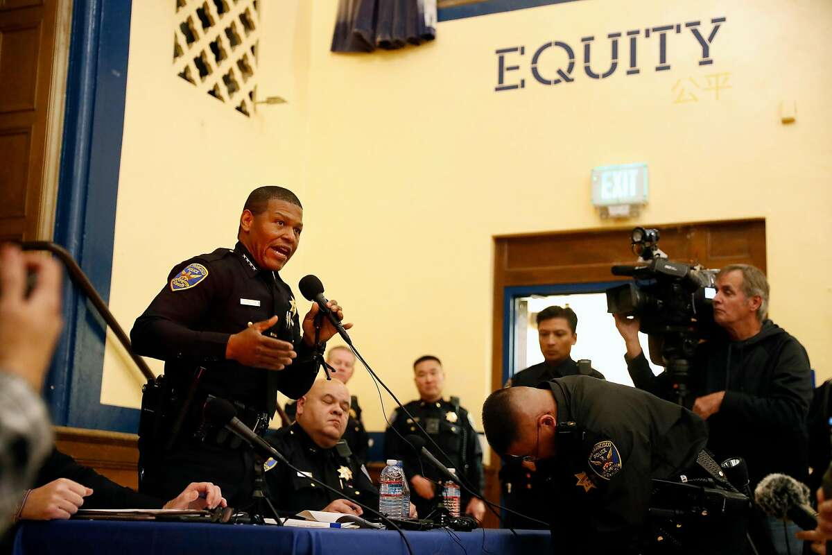 San Francisco Police Chief William Scott answers a question during SF Police town hall, about recent officer involved shooting of Jamaica Hampton, at Cesar Chavez Elementary School in San Francisco, Calif., on Tuesday, December 17, 2019.