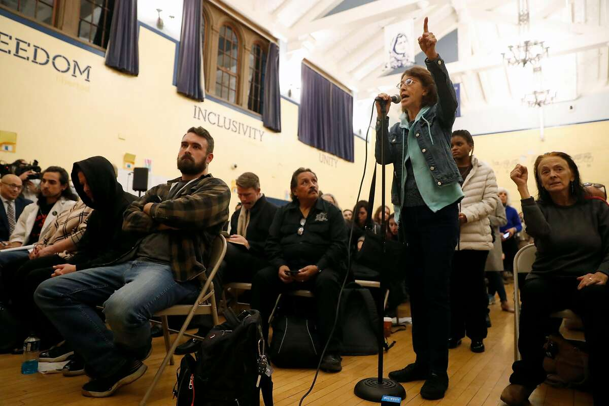 Gloria La Riva speaks during SF Police town hall, about recent officer involved shooting of Jamaica Hampton, at Cesar Chavez Elementary School in San Francisco, Calif., on Tuesday, December 17, 2019.