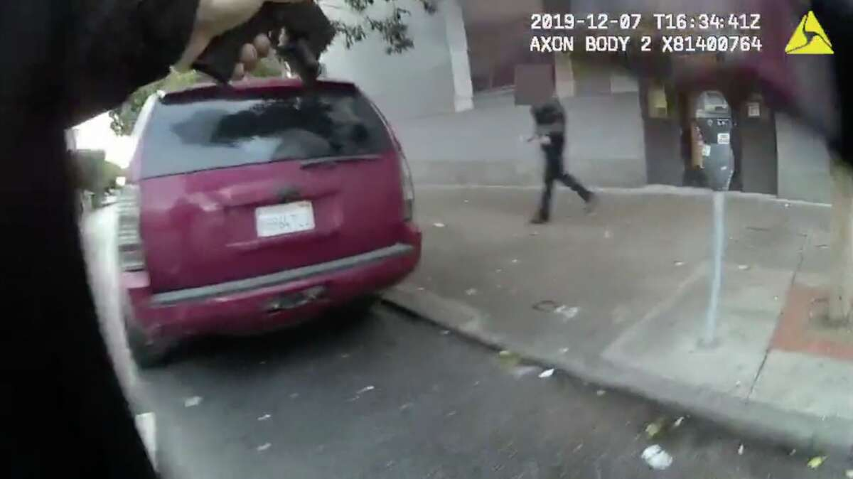The San Francisco Police Department released video footage Tuesday of the shooting of a 26-year-old homeless man on Dec. 7.