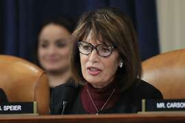 Rep. Jackie Speier, D-Calif., questions former White House national security aide Fiona Hill, and David Holmes, a U.S. diplomat in Ukraine, as they testify before the House Intelligence Committee on Capitol Hill in Washington, Thursday, Nov. 21, 2019, during a public impeachment hearing of President Donald Trump's efforts to tie U.S. aid for Ukraine to investigations of his political opponents. (AP Photo/Manuel Balce Ceneta)