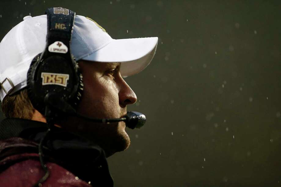 Texas State head coach Jake Spavital looks on from the sidelines during the second half of an NCAA college football game against Appalachian State Saturday, Nov. 23, 2019, in Boone, N.C. (AP Photo/Brian Blanco) Photo: Brian Blanco, FRE / Associated Press / Copyright 2019 The Associated Press. All rights reserved