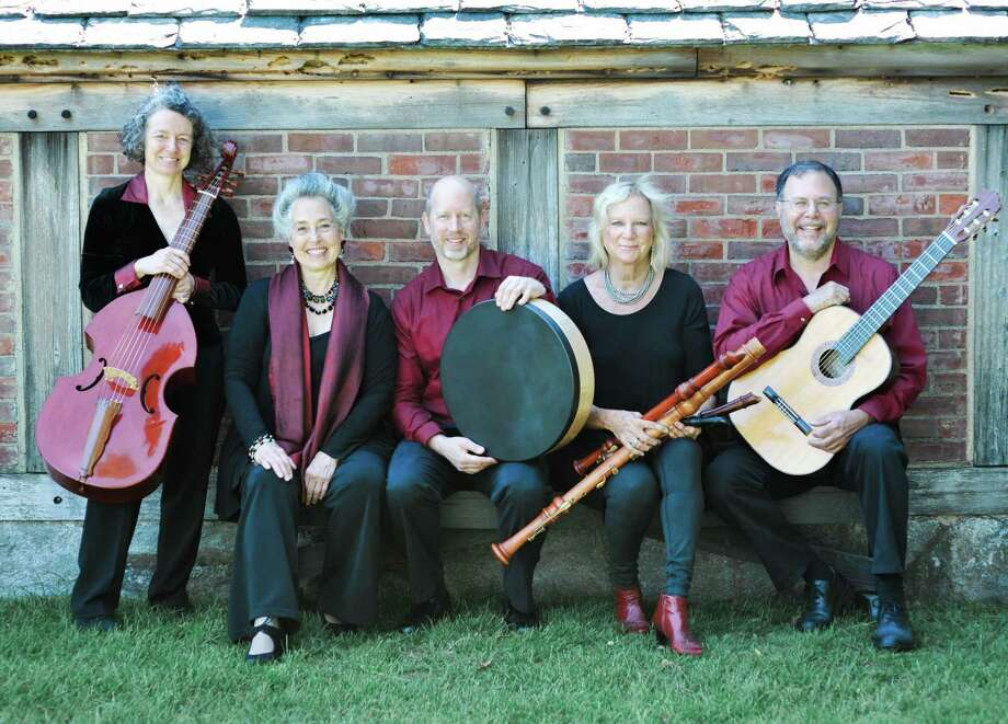 """The Wykeham Consort will return to Gunn Memorial Library in Washington for a concert, """"Song and Stories for a Winter's Night"""" from Spain and the Sephardim, Jan. 9 at 6:30 p.m. at the Wykeham Road library. A snow date of Jan. 16 is planned. The musical group is made up of, from left to right, Erica Warnock (bass viol), founder Matilda Giampietro (soprano), Sarah Jane Chelminski (recorders), James Allen (percussion) and Andy LaFreniere (guitar). Photo: Courtesy Of Lyndsey Victoria Photography"""