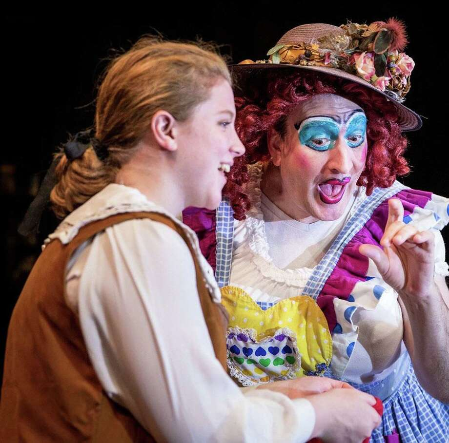 """The Sherman Playhouse will present its production of """"Jack and the Beanstalk A Very British Panto"""" Friday and Saturday nights at 8 p.m. through Dec. 28, as well as Dec. 22 at 2 p.m. Above, Sophia Delohery as Jack and Michael Wright as Dame Trott rehearse a scene from the play. For more information and tickets, call the playhouse off Routes 37 and 39 at 860-354-3622. Photo: Courtesy Of Trish Haldin Photography / The News-Times Contributed"""