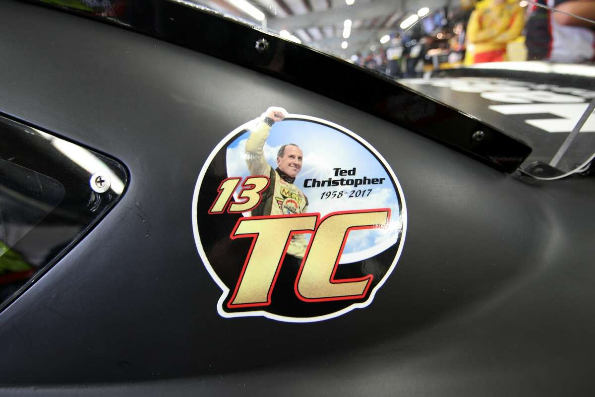 A detailed view of a decal commemorating Ted Christopher, a former NASCAR Whelen Modified Tour driver who was killed in a plane crash, on the #14 Haas Automation Ford, driven by Clint Bowyer (not pictured), during practice for the Monster Energy NASCAR Cup Series ISM Connect 300 at New Hampshire Motor Speedway on September 22, 2017 in Loudon, New Hampshire.