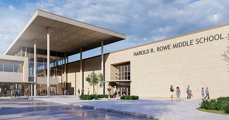 A rendering shows the facade of the future Rowe Middle School in CFISD. Photo: PBK Architects