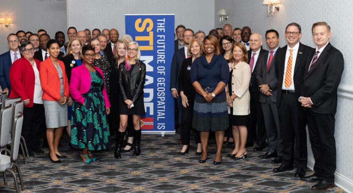 SIUE's Denise Cobb, front, second from left, has been named to the GeoFutures Advisory Committee in St. Louis. Cobb joins leaders from St. Louis' public and private sectors who have created a new initiative to bolster the region's rapidly growing geospatial sector and develop a strategic plan for the future.