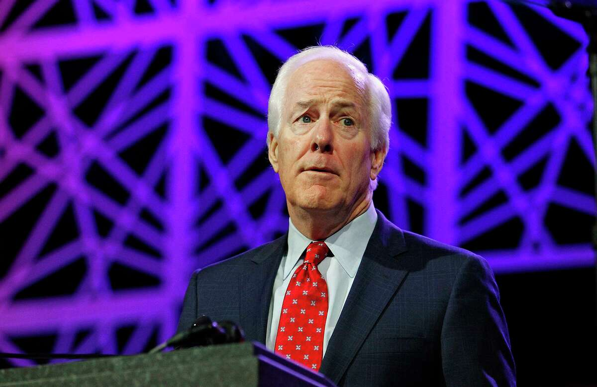 Sen. John Cornyn (R-Texas) speaks during the Republican Party of Texas state convention in Dallas on May 13, 2016. (Paul Moseley/Fort Worth Star-Telegram/TNS)