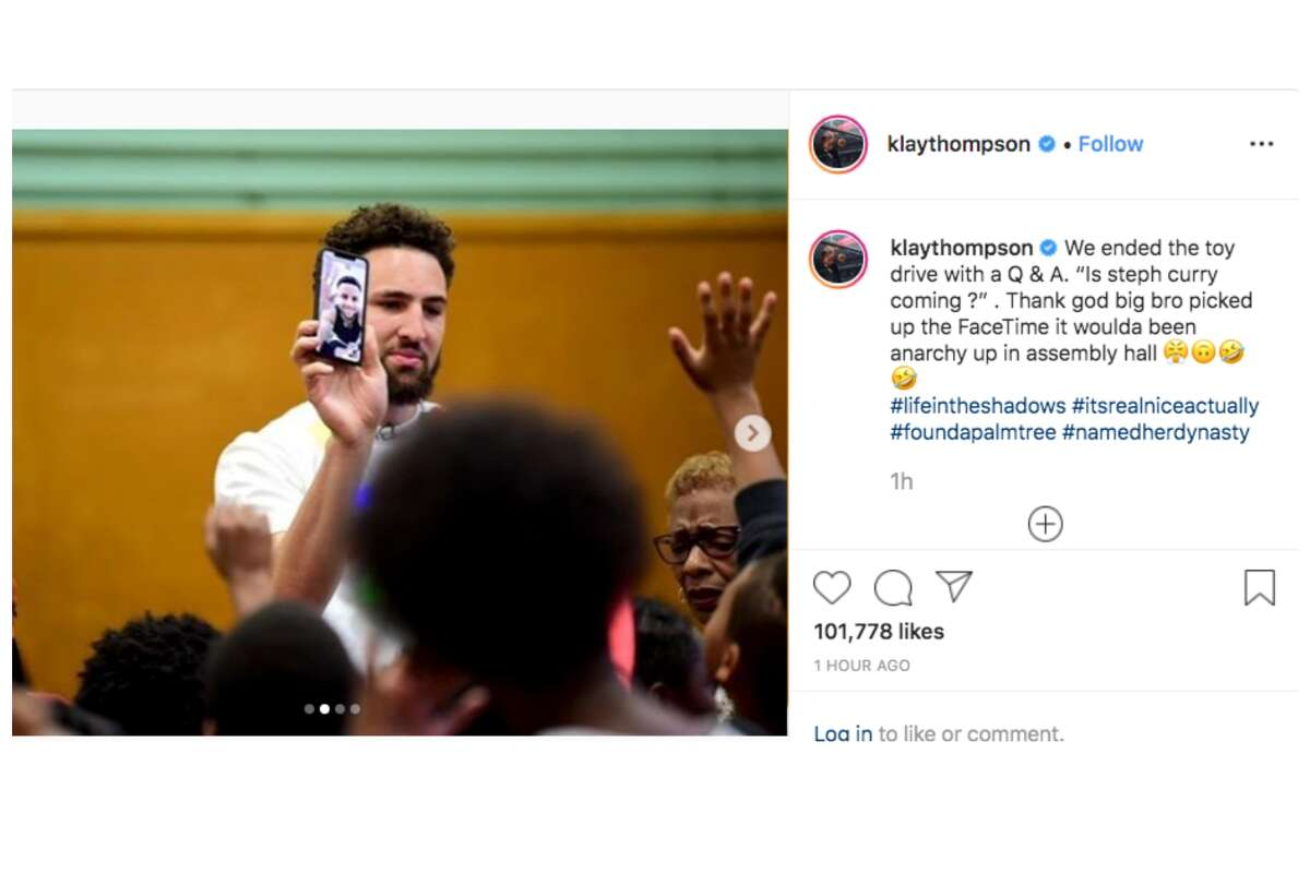 Klay Thompson hosted a toy giveaway at Burckhalter Elementary in Oakland in Dec. 2019.