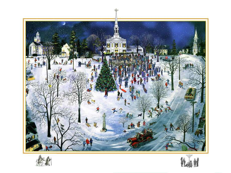 The first 100 donors who give $500 or more to the Founders' Terrace at God's Acre Fund will receive a special custom-made, numbered and signed, 18-inch by 24-inch limited edition print by local artist Brian Kammerer depicting God's Acre at Christmas. Photo: New Canaan Chamber Of Commerce / Contributed Photo / New Canaan Advertiser Contributed