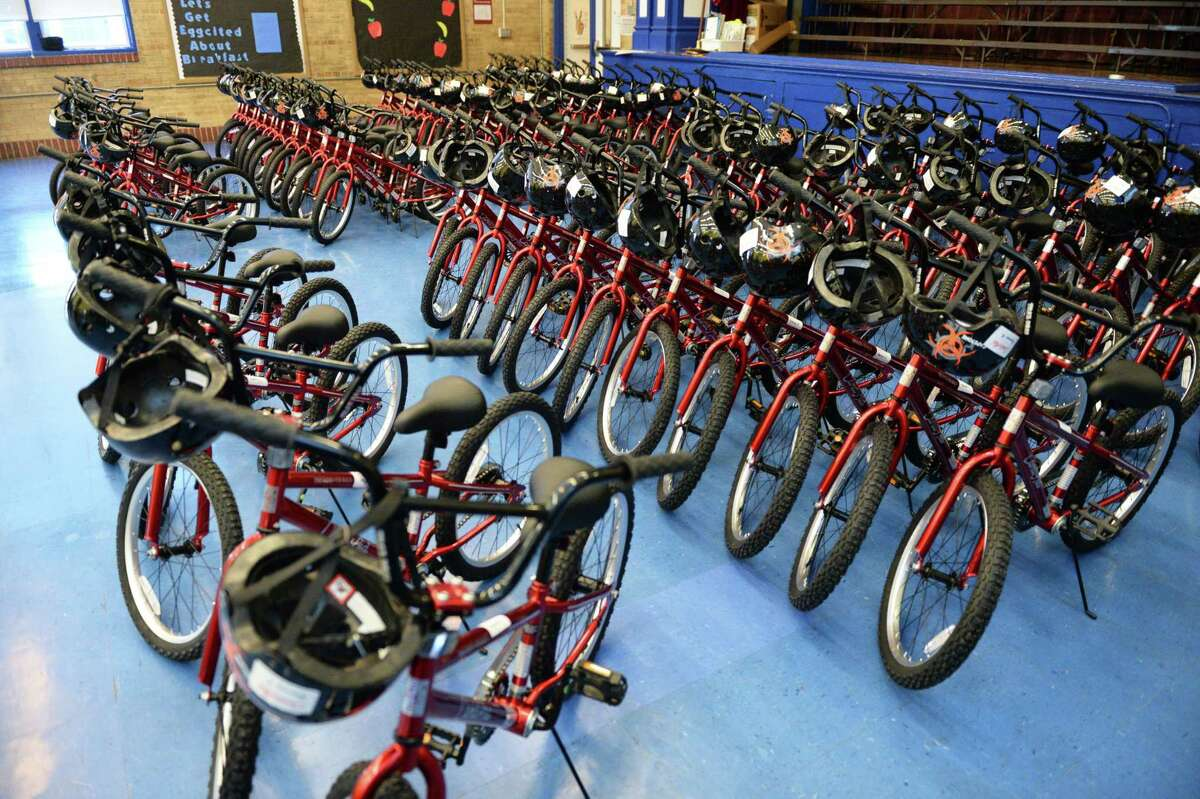 Bicycles and helmets to be given to first grade students by Can'd Aid and Good360 at Field Elementary School, Tuesday, December 17, 2019 in Houston, TX.