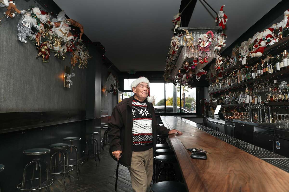 Famous drag queen Marlena who used to own this bar now named Brass Tacks in Hayes Valley talks about the Christmas decor on Monday, Dec. 9, 2019, in San Francisco, Calif.